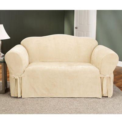 Sure Fit® Soft Suede Sofa Furniture Cover in Taupe