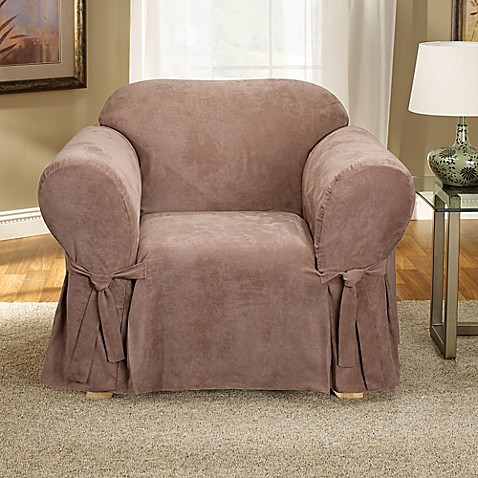 Sure Fit® Soft Suede Chair Slipcover in Sable