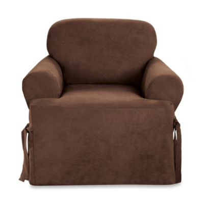 Sure Fit® Soft Suede T-Cushion Chair Slipcover in Taupe