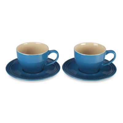 Le Creuset® Stoneware Cappuccino Cups and Saucers in Flame (Set of 2)