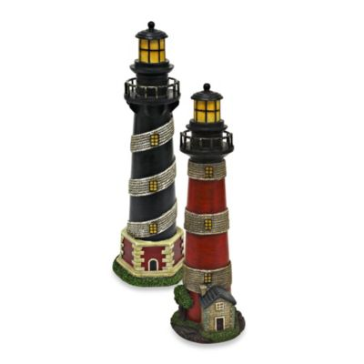 16-Inch Resin Light Houses with Stripes