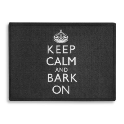 "Park B. Smith® ""Keep Calm and Bark On"" Tapestry Pet Mat in Black"