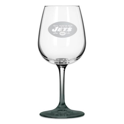 New York Jets 12-Ounce Etched Wine Glass