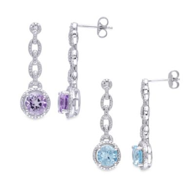 Sterling Silver Diamond and Gemstone Drop Earrings