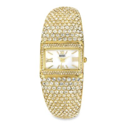 Badgley Mischka® Ladies Square Gold-Tone Bangle Watch with Swarovski Crystal