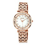 Badgley Mischka® Ladies Rose Gold-Tone Bracelet Watch with Swarovski Crystals