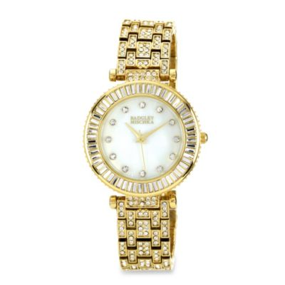 Badgley Mischka® Gold-Tone Bracelet Watch with Swarovski Crystals