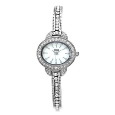 Badgley Mischka® Oval Silver-Tone Multi-Strand Bracelet Watch with Swarovski Crystals