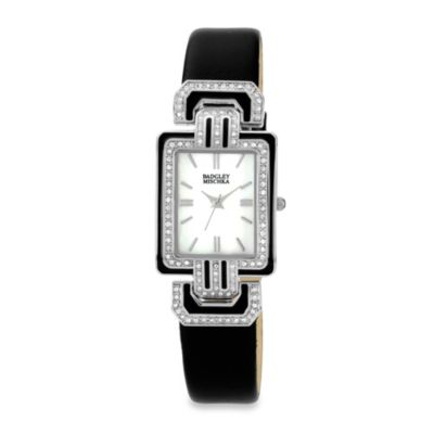 Badgley Mischka® Ladies Silver-Tone Watch with Swarovski Crystals and Black Leather Band