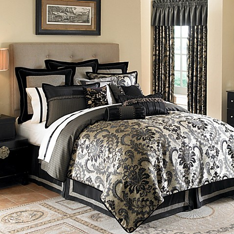 waterford ormonde duvet cover in black and gold bed bath beyond. Black Bedroom Furniture Sets. Home Design Ideas