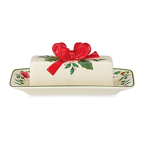 Lenox® Holiday™ Porcelain Butter Dish