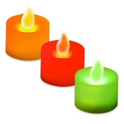 Flameless LED Tealights in Green (Set of 12)