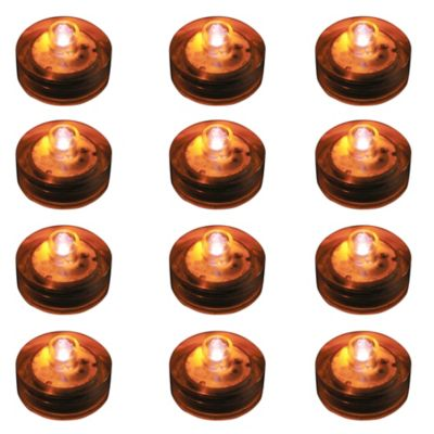 Submersible Flameless LED Lights in Orange (Set of 12)
