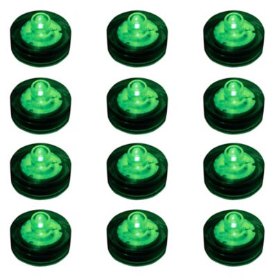 Submersible Flameless LED Lights in Green (Set of 12)