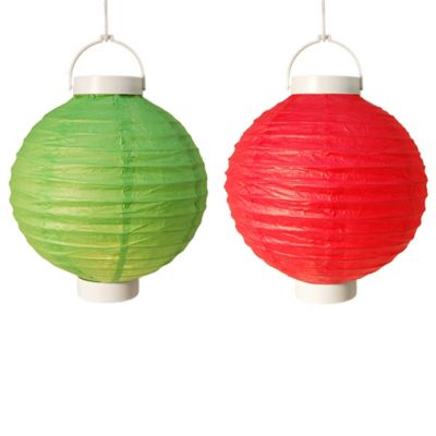 8-Inch Battery Operated Paper Lanterns in Green (Set of 6)