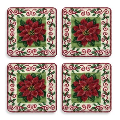 Petit Point 4-Inch x 4-Inch Pointsettia Coasters (Set of 4)