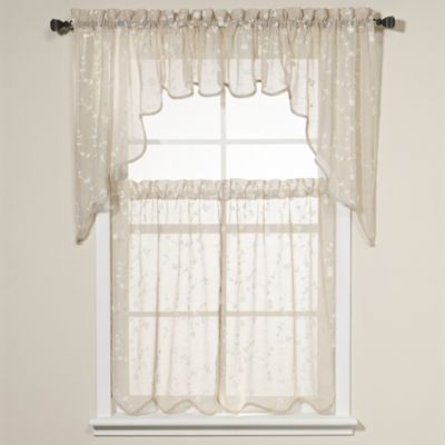 Savannah Taupe Kitchen Window Curtain Tiers