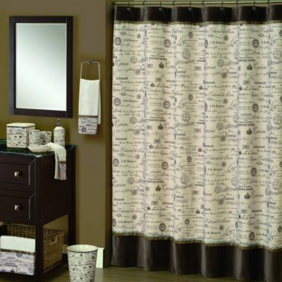 Edwardian Script 70-Inch x 72-Inch Shower Curtain in Natural