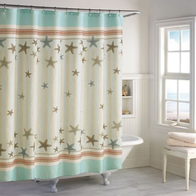 Turquoise Fabric Shower Curtain