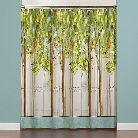 Forest study 70 inch x 72 inch shower curtain bed bath for Forest green curtains drapes