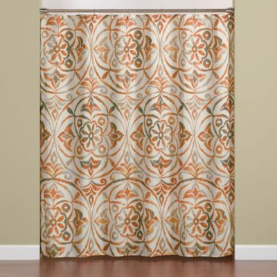 "Sakura 70"" x 72"" Shower Curtain in Orange"