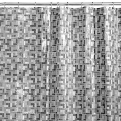 Stained Glass 54-Inch x 78-Inch Shower Curtain in Black/White