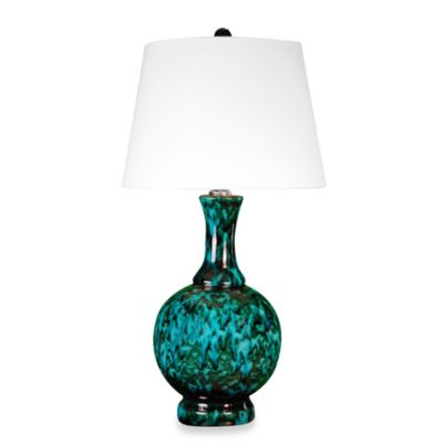 Ceramic Table Lamp in Copper Green Finish