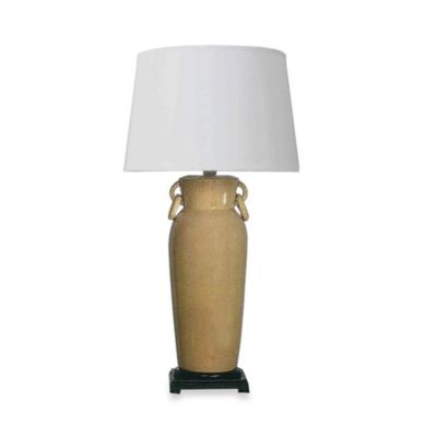 Ceramic Table Lamp with Amber Crackle Finish