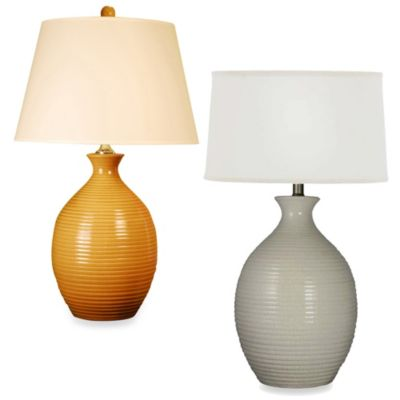 Ribbed Ceramic Table Lamp in Annapolis Grey with a White Drum Shade