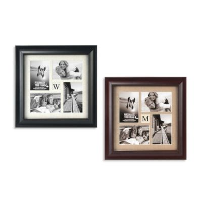 Malden® Barnside 4-Opening Monogram Picture Frame in Black