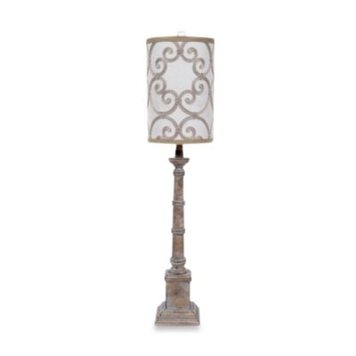 Ceramic Table Lamp in Travertine Finish