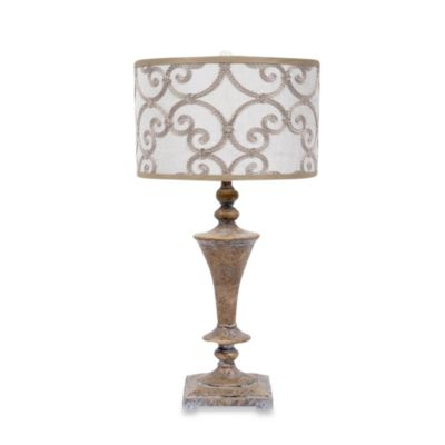 32-Inch Resin Table Lamp in Travertine
