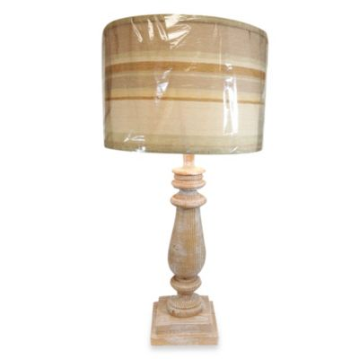 Resin Table Lamp with Limestone Finish