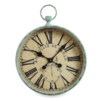 Creative Co-Op Iron Aqua Pocket Watch Wall Clock
