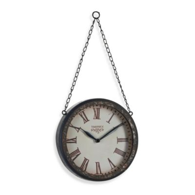 Creative Co-Op Metal Hanging Wall Clock With Chain in Black/Rust