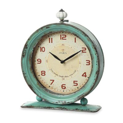 Creative Co-Op Metal Tabletop Clock in Aqua