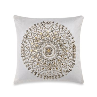 Beaded Medallion Ivory 16-Inch x 16-Inch Toss Pillow