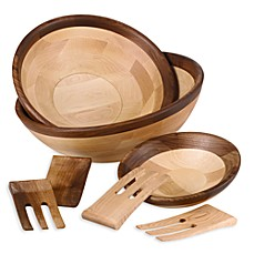 Maple and Walnut Finish Salad Serveware