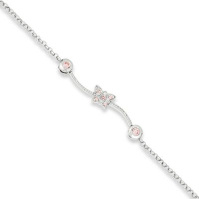 Sterling Silver and Pink Cubic Zirconia Child's Bracelet