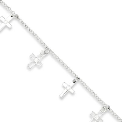 Sterling Silver and Cubic Zirconia 6-Inch Child's Polished Cross Bracelet