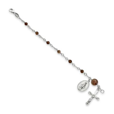 Sterling Silver and Smokey Topaz 6-Inch Child's Polished Rosary Bracelet