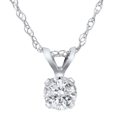 14K White Gold .30 cttw Diamond Solitaire Pendant