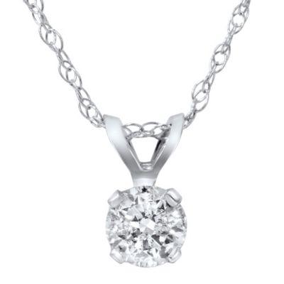 14K White Gold .30 cttw Diamond Solitaire Pendant
