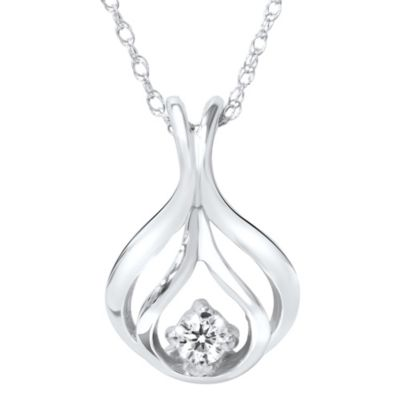 14K White Gold 0.8 cttw Diamond Solitaire Pendant with Chain