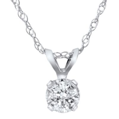14K White Gold .21 cttw Diamond Solitaire Pendant