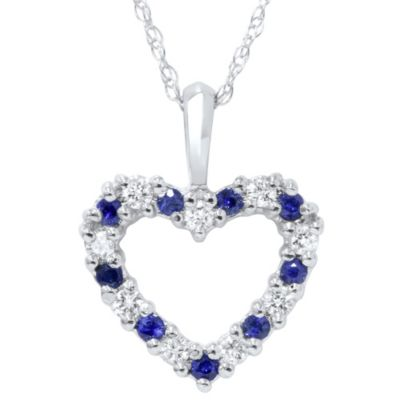 14K White Gold, Blue Sapphire and Diamond Heart Pendant