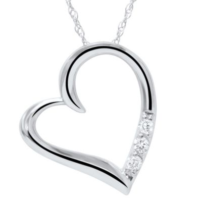 14K White Gold 3-Stone Diamond Heart Pendant