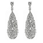 CZ by Kenneth Jay 16 cttw Tear Drop Scroll Earrings
