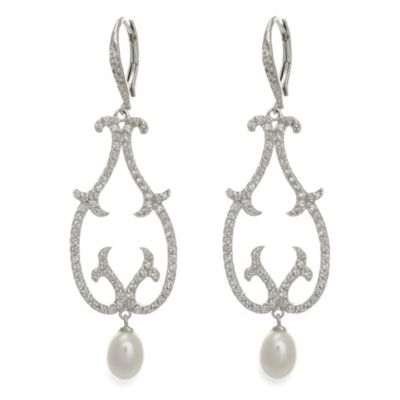 CZ by Kenneth Jay Lane Open Swirl with Fresh Water Pearl Drop Earrings
