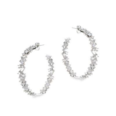 CZ by Kenneth Jay Lane 16 cttw Cubic Zirconia Baguette Hoop Earrings